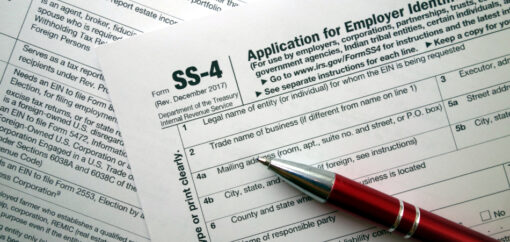 SS-4 form - application for employer identification number, taxation concept